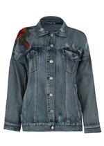 Oversized Floral Embroidered Ripped Boyfriend Denim Jacket Blue