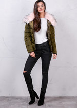 Pink Faux Fur Collar Quilted Padded Puffer Jacket Coat Khaki Green