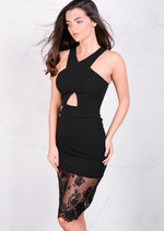 Piper Lace Insert Front Cross Dress Black