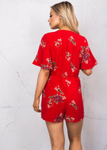 Plunge Neck Wrap Over Bell Sleeve Floral Playsuit Red