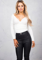 Plunge Neck Wrap Ribbed Jersey Over Long Sleeve Bodysuit White