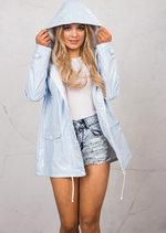 Waterproof Rain Mac Coat Festival  Hooded Jacket Light Blue