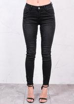 Mid Rise Distressed Skinny Fit Fringe Hem Denim Jeans Charcoal Grey