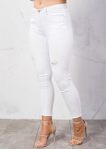 Ripped Skinny Fit Fringe Hem Denim Jeans White