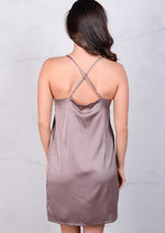 Satin Belted Silky Cami Spaghetti Strap Dress Nude