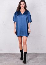 Satin Silk Oversized Kimono Dress Navy