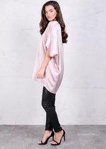 Satin Silk Oversized Kimono Dress Rose Nude