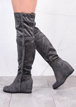 Shepherd Fur Wedge Over The Knee Foldable Long Boots Suede Grey