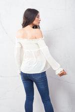 Shirred Long Sleeve Bardot Crop Top Off White