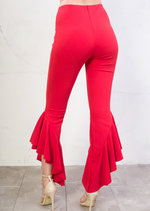 Skinny Cropped Asymmetrical Frill Cigarette Trousers Red