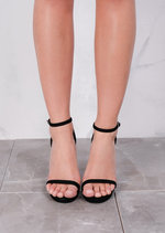 Strapped Platform Barely There Heeled Sandals Suede Black