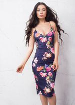 Strappy Plunge Neck Midi Dress Floral Navy Blue
