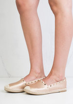 Studded Espadrilles Pumps Rose Gold