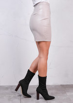 Leather Look Mini Bodycon Skirt Grey
