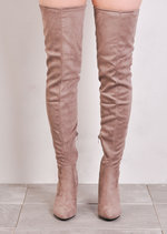 Thigh High Extra Long Block Heel Faux Suede Tie Back Boots Taupe