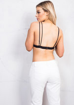 Triangle Floral Embroidered Bralet Black