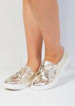 TwistFront Slip On Pumps Sneaker Shoes Metallic Gold
