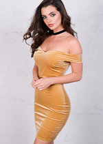 Velvet Off The Shoulder Sweetheart Mini Bodycon Mustard Dress