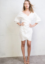 Wrap Over Puff Sleeve Bow Tie Shirt Dress White