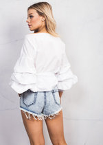 Wrap Over Puff Sleeve Crop Bow Tie Shirt Cotton Top White