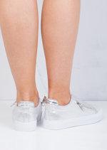 Zip Detail Slip On Pumps Sneakers Silver