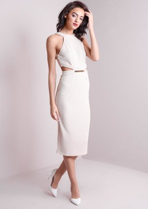 Aida Cut Out Midi Dress Beige