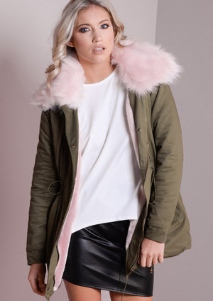 Baby Pink Detachable Faux Fur Collar Fully Lined Parka Coat Khaki Green