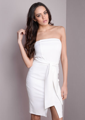 Bandeau Tie Mini Bodycon Dress White