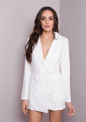 Blazer Playsuit Tuxedo Long Sleeve Style White
