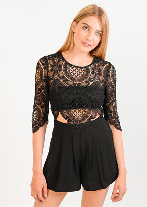 Carrie 3/4 Sleeve Black Lace Playsuit