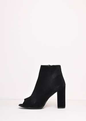 Chic Faux Suede Peep Toe Ankle Boots Black