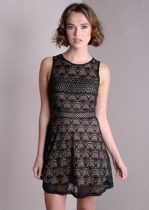 Contrast Cut Work Lace Skater Mini Dress Black