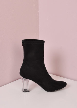 Clear Perspex Faux Suede Block Heel Ankle Boots Black