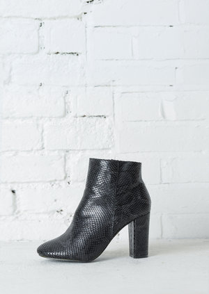 Snakeskin Ankle Boots Black