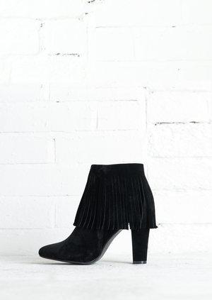 Tassel Faux Suede Block Heel Ankle Boots Black