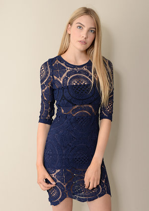 Cersie 3/4 Sleeve Blue Lace Dress