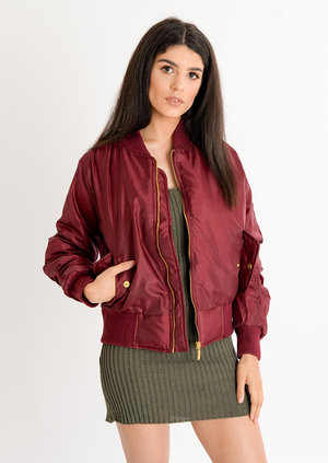 Eliza Padded Bomber Jacket Wine