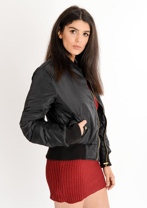 Eliza Padded Bomber Jacket Black