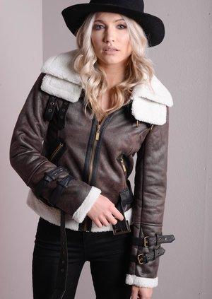 Faux Shearling Pilot Jacket Brown