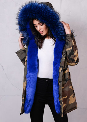 Blue Camo Faux Fur Hooded Full Padded Parka Coat Khaki Green