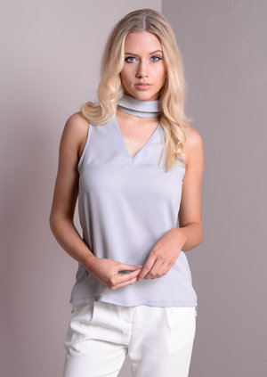 High Neck Choker Cut Out Cami Top Grey