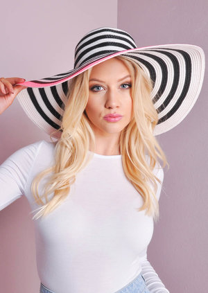 Hope Black, White & Neon Pink Floppy Hat