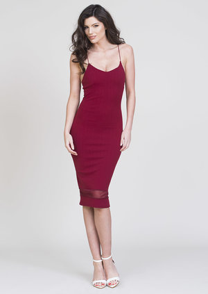 Eve Burgandy Dress with Mesh Panel