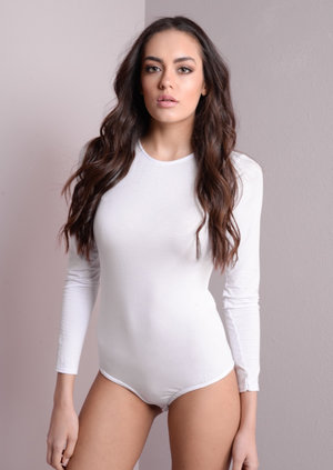 Jersey Long Sleeve Bodysuit White
