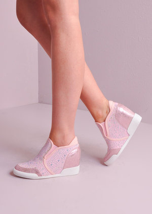 Jewel Studded Reptile Wedge Trainers Pink