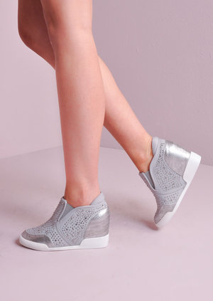 Jewel Studded Reptile Wedge Trainers Silver