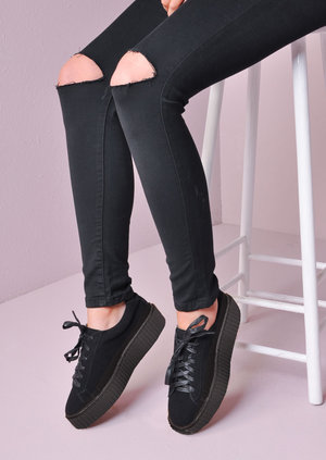 Lace Up Flatform Creepers Black