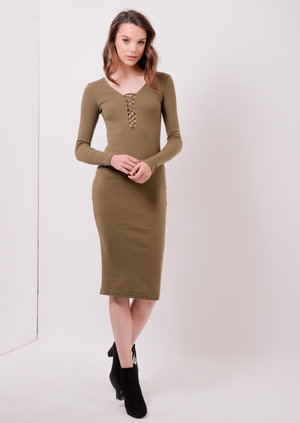 Lace Up Ribbed Bodycon Midi dress Khaki Iesha | Lily Lulu Fashion