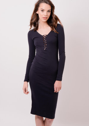 Lace Up Ribbed Bodycon Midi dress Navy Iesha | Lily Lulu Fashion