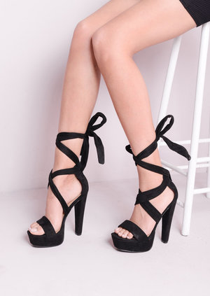 Lace Up Tie Back Heels Suede Black Platforms